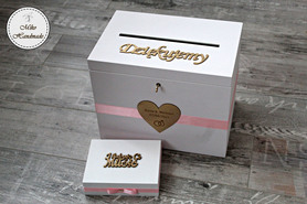Komplet pudełek ślubnych - serce z grawerem