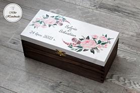 Pudełko na alkohol dla Pary Młodej - rustykalne kwiaty