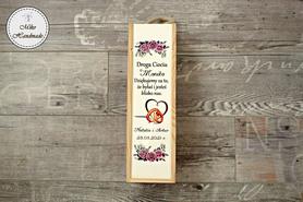 Pudełko na wino dla Matki Chrzestnej - fioletowe róże