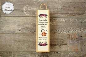 Pudełko na wino dla Ojca Chrzestnego - fioletowe róże