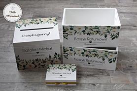 Komplet pudełek ślubnych - białe kwiaty