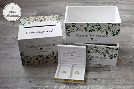 Komplet pudełek ślubnych - białe kwiaty (2)
