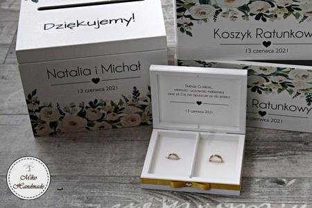 Komplet pudełek ślubnych - białe kwiaty (4)