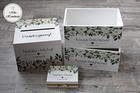 Komplet pudełek ślubnych - białe kwiaty (1)