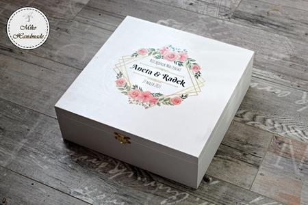 Pudełko na prezent ślubny (Duże) - Różowe kwiaty (1)