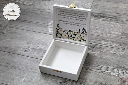 Pudełko na prezent ślubny - białe kwiaty (2)