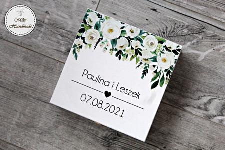 Pudełko na prezent ślubny - białe kwiaty (3)