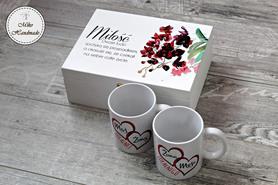 Prezent ślubny - pudełko + Kubki dla Pary Młodej (Żona Mąż)
