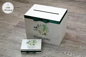 Komplet pudełek ślubnych - białe kwiaty + butelkowa zieleń