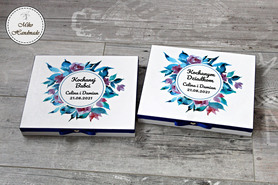 Pudełko na czekoladki Merci - podziękowanie ślubne - chabrowy wzór