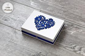 Pudełko na obrączki - białe z dekorem (przysięga)