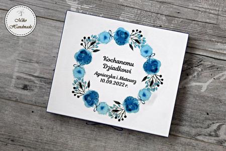 Pudełko na czekoladki Merci - podziękowanie ślubne - niebieskie kwiaty (3)