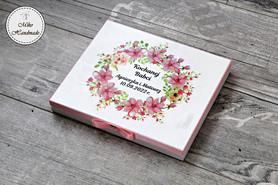 Pudełko na czekoladki Merci - podziękowanie ślubne - różowe kwiaty