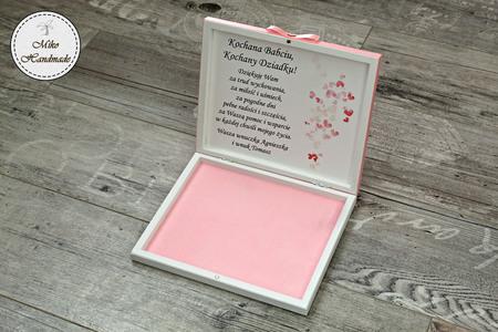 Pudełko na czekoladki Merci - podziękowanie ślubne - pastelowe róże (2)