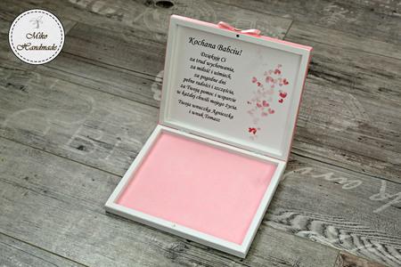 Pudełko na czekoladki Merci - podziękowanie ślubne - pastelowe róże (4)
