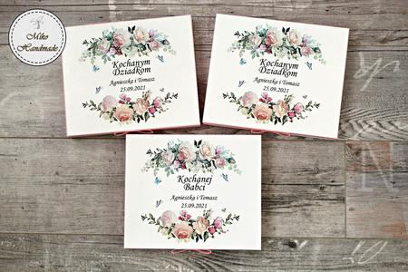 Pudełko na czekoladki Merci - podziękowanie ślubne - pastelowe róże (5)