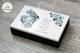 Pudełko na zegarki/bransoletki - biało czarne